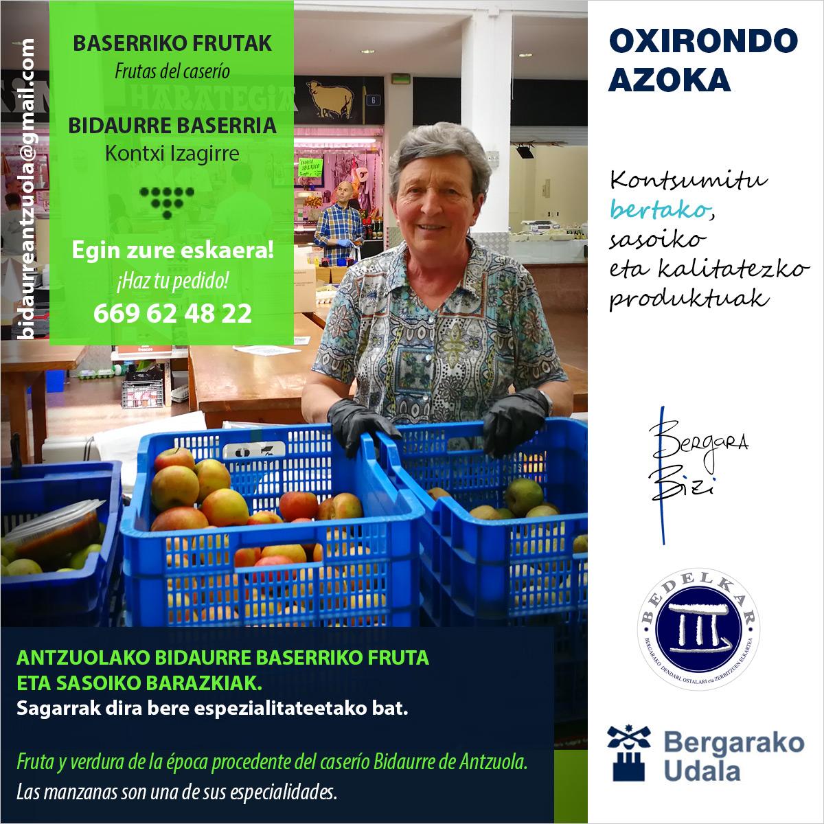 te redirigimos a la ficha que el caserío Bidaurre tiene en el mercado de Oxirondo de Bergara